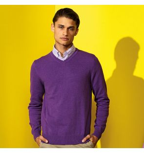 AQ042 Men's cotton blend v-neck sweater