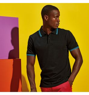 AQ011 Men's classic fit tipped polo