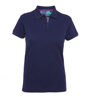AQ024 Women's check trim polo