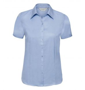 Russell Collection Ladies Short Sleeve Herringbone Shirt