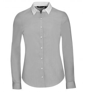 SOL'S Ladies Belmont Long Sleeve Contrast Poplin Shirt