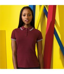 AQ021 Women's classic fit tipped polo